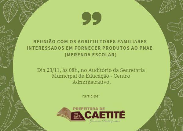 DIFAM realizará reunião com agricultores sobre a merenda escolar