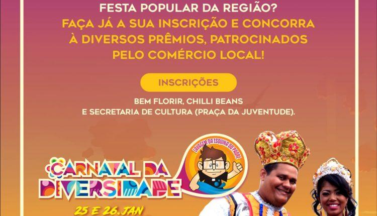 Abertas inscrições para Rei Momo e Rainha do Carnaval da Diversidade 2019 de Caetité