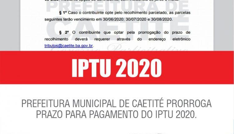 Prefeitura de Caetité prorroga prazo para vencimento do IPTU