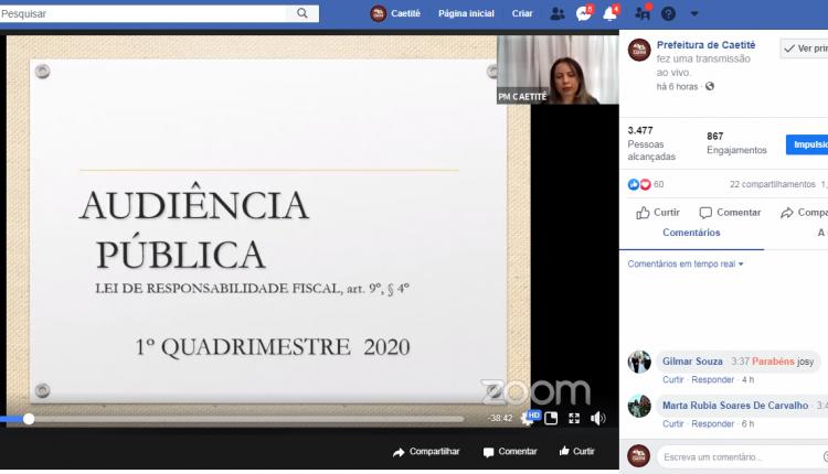 Prefeitura de Caetité realiza audiência pública virtual de prestação de contas do quadrimestre