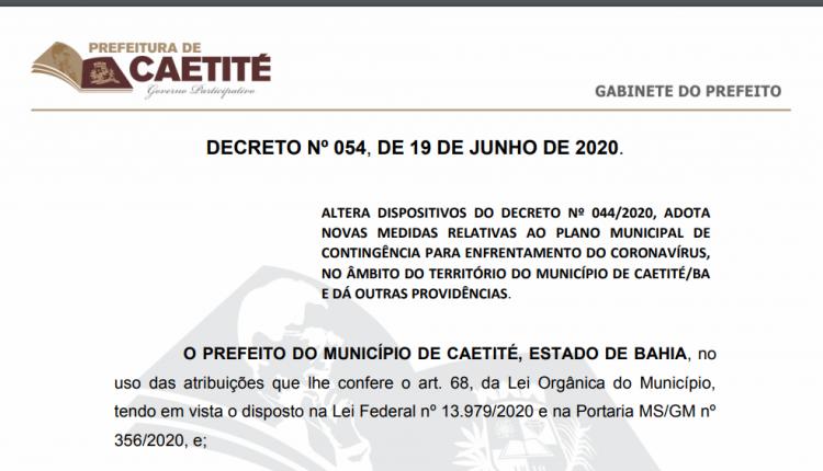 Coronavírus: Prefeitura de Caetité publica decreto com novas medidas